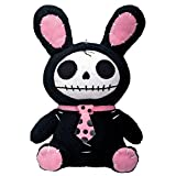 StealStreet Bunny Furry Bones Plush Stuffed Animal Doll, Black and Pink Collectible