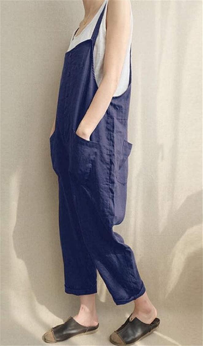 pipigo Womens Trousers Slim Pure Color Basic Plus Size Overalls