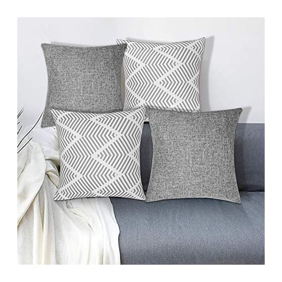Decorsurface throw pillow covers 18x18 - set of 4, decorative pillow covers for couch and sofa, cotton linen pillow covers set, simple geometric style, grey - Pillow covers size: 18x18 inch(45x45 cm), Fabric: cotton linen, Pack of 4(pillow inserts not included), throw pillow covers are great for couch, sofa, etc. Premium material & simple design: Made of high-quality cotton linen, the fabric is thick and has wrinkle resistance, set of 4 pillow covers contain 2 modern simple styles with grey color. Feature: The invisible zipper design gives your throw pillows more decent look, and it's easy to replace, these decorative pillow covers are available for home sofas, living rooms, cars, etc. Machine wash is available too, please choose the gentle cycle in cold water. - patio, outdoor-throw-pillows, outdoor-decor - 51DQTtWWWQL. SS570  -