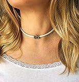 White Leather Choker for Women Flower Necklace Handmade