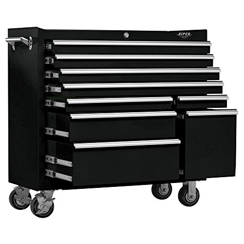 Viper Tool Storage V4109BLR 41 Inch 9 Drawer 18G Steel Rolling Tool Cabinet,  Black