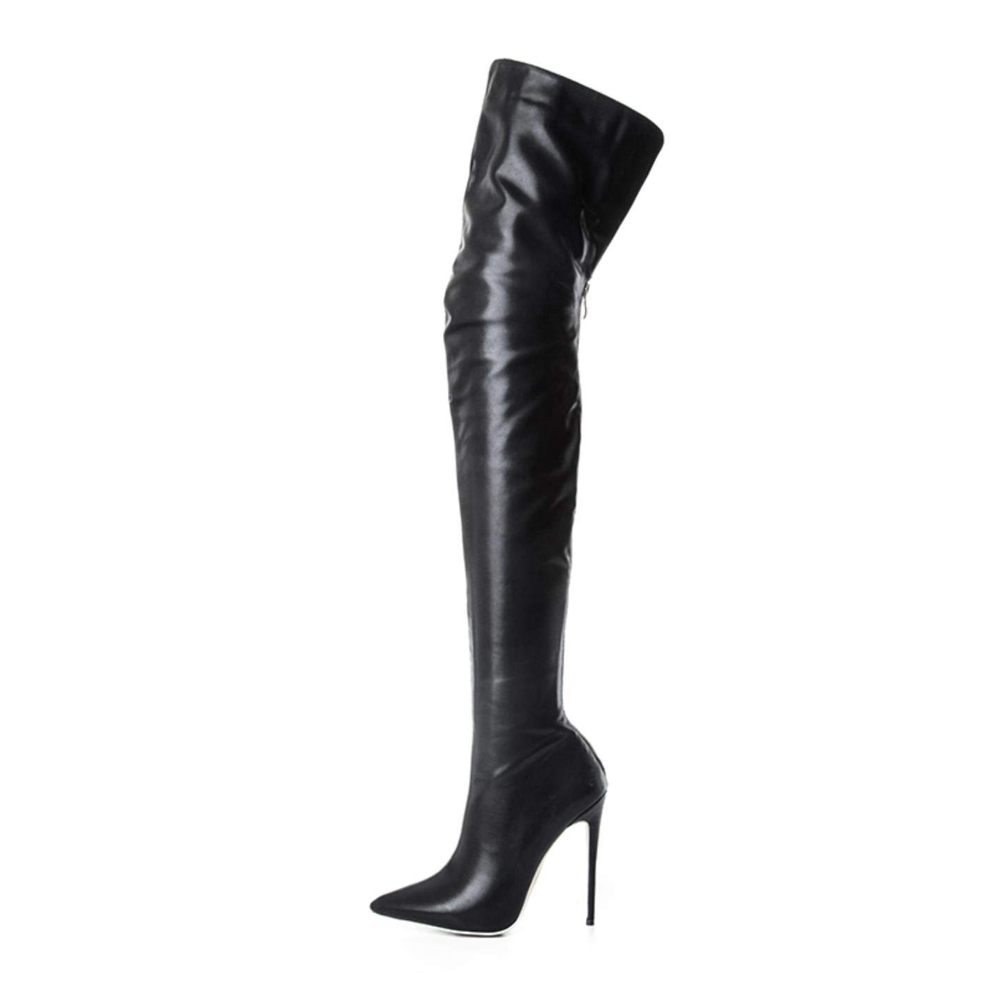 Black Leather Women's fashion over the knee high boots sexy high heels back zipper