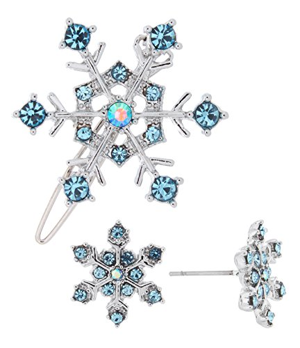 Snow Princess Rhinestone Winter Blue Snowflake Hair Pin and Stud Earring Party Set (Earrings Winter Snowflake)