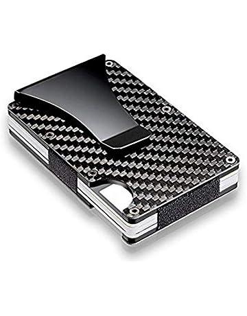 1a6ad126fd Porta carte di credito in fibra di carbonio con fermasoldi in metallo -  Portafoglio RFID Blocking
