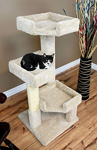 (CozyCatFurniture 3 Tier Cat Tree for Large Cats, Beige Carpet )