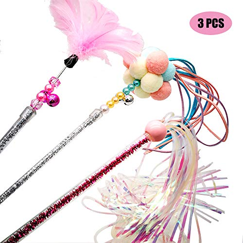 Cat Teaser Wands 3 PCS Cat Wands Interactive Cat Toys Cat Stick with Balls, Feather and Tassel for Cat Kitten Having Fun…