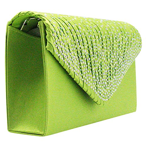 Handbag Rhinestone Cckuu Clutch Satin Bag Pleated Classic Evening Envelope Green Apple Women Silver zqw5AqRnF