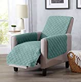 Great Bay Home Deluxe Stonewashed Stain Resistant Furniture Protector in Solid Colors. Laurina Collection By Brand. (Recliner, Aqua)
