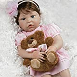 Paradise Galleries Reborn Toddler Baby in Silicone Vinyl Pretty in Pink, 20 inch Real Life Girl Doll, 6-Piece Doll Gift Set