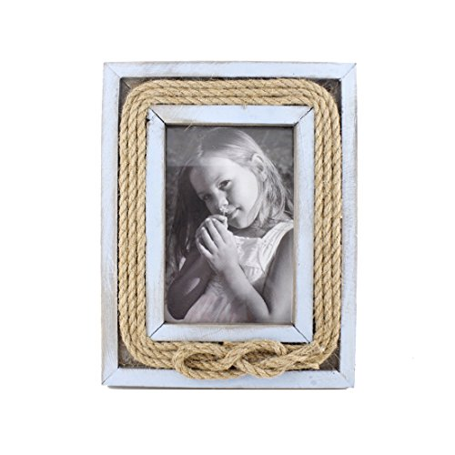 Zhenzan Frames 4x6 Inches Wooden Jute Rope Picture Frame with Glass Front (Blue)