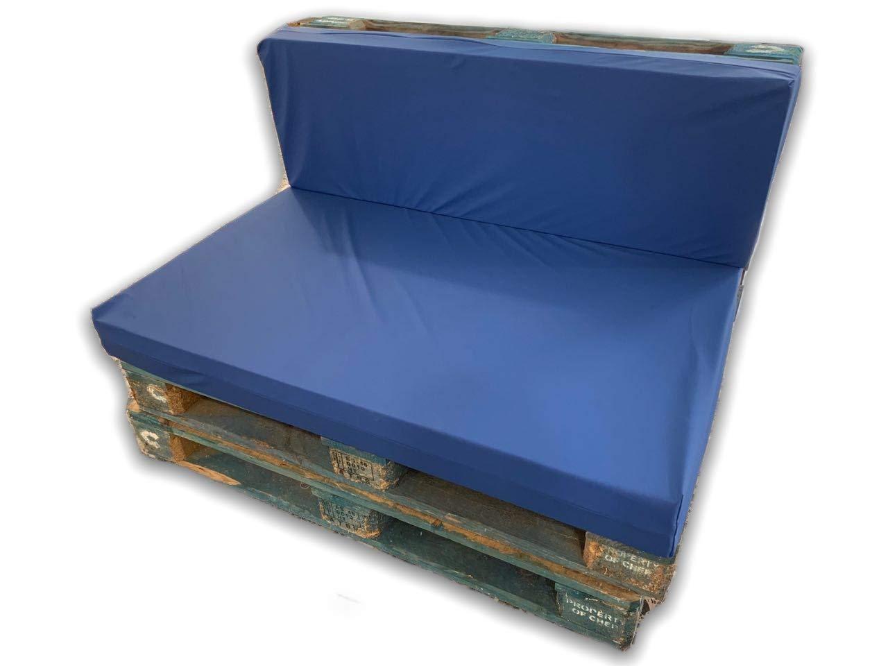 MICAMAMELLAMA Pack Asiento y Respaldo de Espuma para sofá Exterior de Palet con Funda (Funda Nautica)