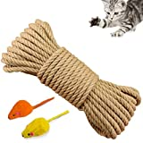Yangbaga Cat Natural Sisal Rope for Scratching Post Tree Replacement, Hemp Rope for Repairing, Recovering or DIY Scratcher, 6mm Diameter, Come with Two Ratter Mice (33FT)