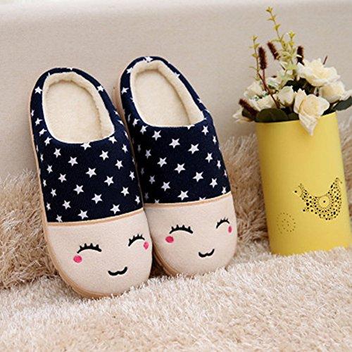 Eagsouni® Damen Herren Warme Hausschuhe Hüttenschuhe Plüsch Pantoffel Pantoffeln Pantolette Indoor Haus Slippers Blau