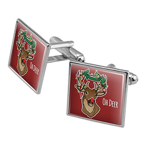 Oh Deer Dear Christmas Holidays Funny Square Cufflink Set Silver Color - Christmas Holiday Cufflinks