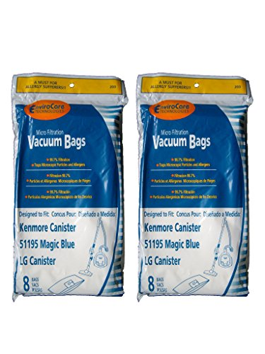 16 Kenmore Type M Sears 51195 Magic Blue LG Vacuum Bags, Ultracare, Canister Vacuum Cleaners, 20-51195, 609323, 21195, 21295, 24195, (Sears Vacuum Bag)