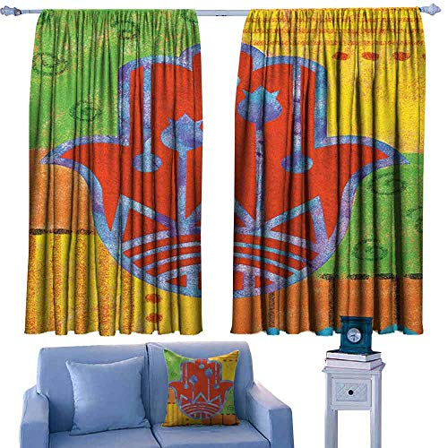 - ParadiseDecor Hamsa Nursery/Baby Care Curtains Colorful Framework with Lily Hamsa and Primitive Tribal Geometric Shapes on Backdrop,Indo Treatment Panes,W42 x L63 Inch