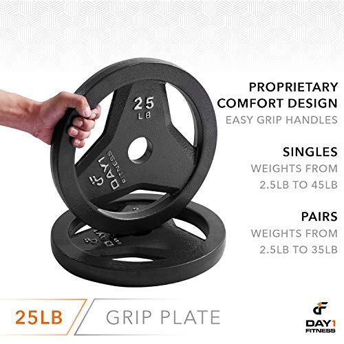 "Day 1 Fitness Cast Iron Olympic 2-Inch Grip Plate for Barbell, 25 Pound Single Plate Iron Grip Plates for Weightlifting, Crossfit - 2"" Weight Plate for Bodybuilding by Day 1 Fitness (Image #4)"