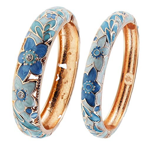 (UJOY Vintage Jewelry Cloisonne Handcrafted Enameled Flower Gorgeous Rhinestone Gold Hinged Cuff Bracelet Bangles Gifts 88A11 Light Blue)