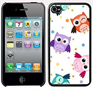 Apple iPhone 4 4S 4G Black 4B50 Hard Back Case Cover Cute Colorful Owls Design