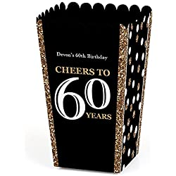 Big Dot of Happiness Personalized Adult 60th Birthday - Gold - Custom Birthday Party Favor Popcorn Treat Boxes - Custom Text - Set of 12