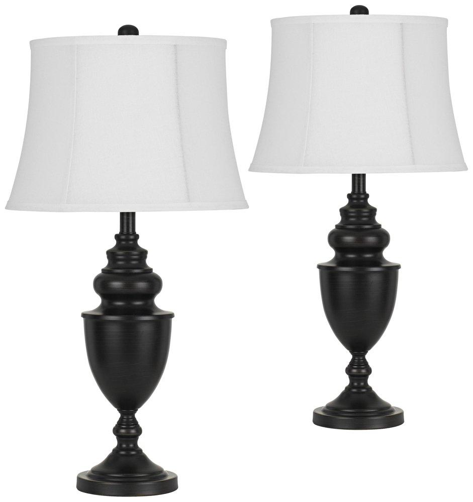 Dark Bronze Metal Urn Table Lamp Set of 2