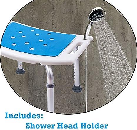 Sgabello doccia Medokare con sedile imbottito Sedile doccia per anziani con borsa Tote Bag Sedia da bagno con banco doccia Sedili doccia Handicap per adulti White Chair