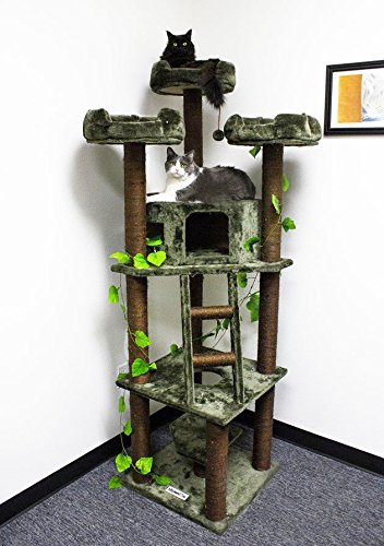 Extra Large Cat Tower 75 inch Brown Kitty Tree No Carpet with Green Leaves