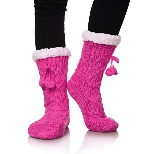 (YEBING Women's Cable Knit Super Soft Warm Cozy Fuzzy Fleece-lined Winter Slipper Socks (Rose Pink))
