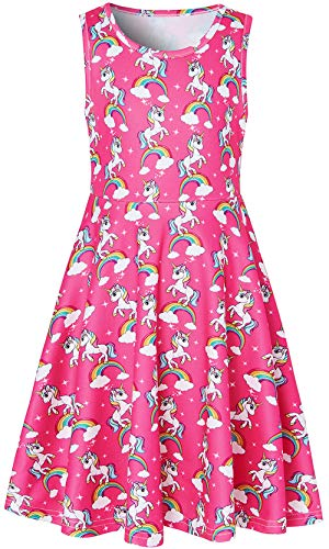 Summer Dress for Girls Cute Unicorn Printed Sundress Pink Round Neck Skirt for Hawaiian Party Sleeveless Dresses 10-13 Years Size 10 -
