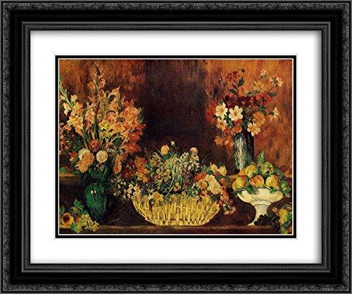 Pierre Auguste Renoir 2x Matted 24x20 Black Ornate Framed Art Print 'Vase, Basket of Flowers and Fruit'