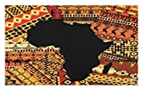 Lunarable African Doormat, Abstract Artistic Style Africa Map on Ethnic Carpet Background Illustration, Decorative Polyester Floor Mat with Non-Skid Backing, 30 W X 18 L inches, Black and Orange