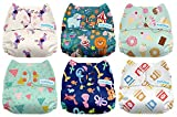 Mama Koala One Size Baby Washable Reusable Pocket Cloth Diapers, 6 Pack with 6 One Size Microfiber Inserts (Circus)