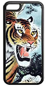 Fierce Tiger Painting - For Apple Iphone 5/5S Case Cover - Hard Black Plastic Case