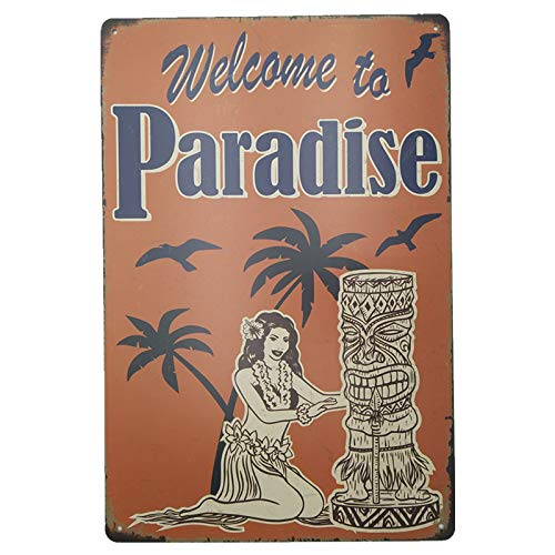 +Urbano Welcome to Paradise Sign - Retro Hawaiian