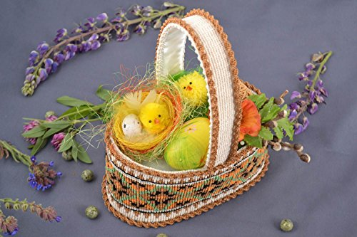 Handmade Small Decorative Macrame Woven Easter Basket With Egg And Chickens