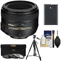 Nikon 50mm f/1.4G AF-S Nikkor Lens with EN-EL14 Battery + 3 UV/CPL/ND8 Filters + Tripod + Kit for D3300, D3400, D5300, D5500, D5600 DSLR Camera