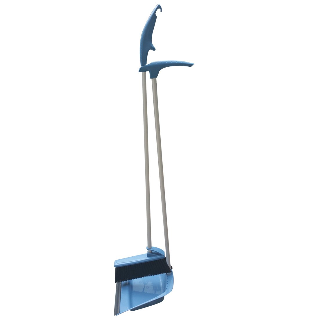 NewFerU Upright Hand Dustpan With Rubber Lip and Brush Holder Broom Combo Clean Organizer Sweep Up Tool Set With Plastic Metal Long Handle for Lobby Kitchen Garden Garage Outdoors Indoor 36' (Blue) Jinyi VR1045
