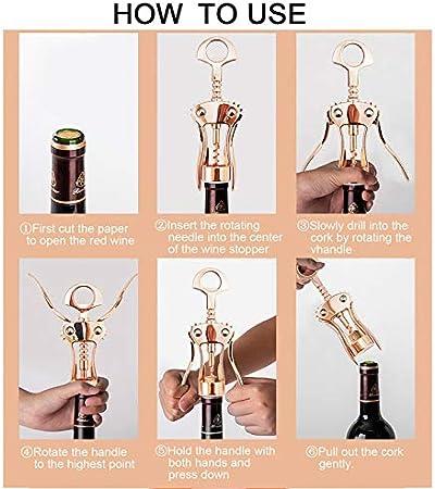 JSJJAOL Sacacorchos Abrelatas de Vino ala sacacorchos de Corcho de Zinc aleación de Cerveza abrelatas abrelatas multifuncionales utilizadas en la Cocina Restaurante Chateau y Bares