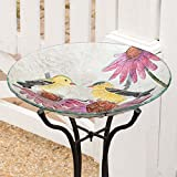 Birds on a Coneflower Glass Birdbath