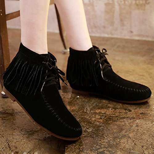 Anguang Women's Classic Tassel Ankle Boots Casual Outdoor Flat Heel Shoes Black (Thick Cotton) 2E80iXD