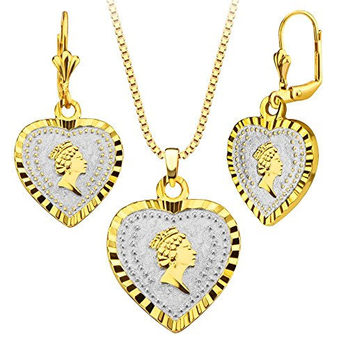 Elegant Queen Jewelry 18k Gold/Platinum Plated Heart Shape Necklace&Earrings Fashion Women Jewelry Set Gift Wholesale S20165