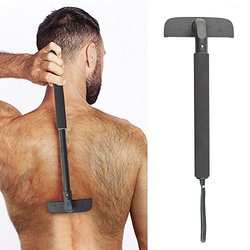 "Back Shaver Body Groomer for Women Men - Back Razor Blade - Adjustable Long Shaving Handle (11.0"" Length, Black)"