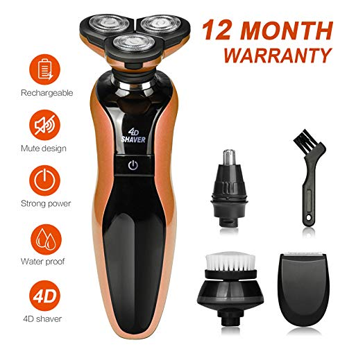 DAMONING Electric Shaver, 4D Rechargeable IPX7 Waterproof 4 in 1 Men s Rotary Shavers Wet and Dry Electric Shaving Razors with Pop-up Trimmer orange