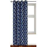 "Utopia Bedding Printed Blackout Room Darkening Grommet Curtain (52"" x 82"") - Navy"