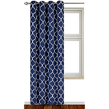 Printed Blackout Room Darkening Printed Curtains Window Panel Drapes - (Navy Color Pattern) 1 Panel, 52 inch wide by 84 inch long, Printed Pattern - By Utopia Bedding