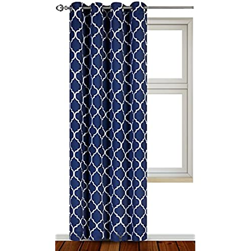 Utopia Bedding Printed Blackout Room Darkening Color Block Grommet Curtain Panel 52 Inches Wide By 84 Long