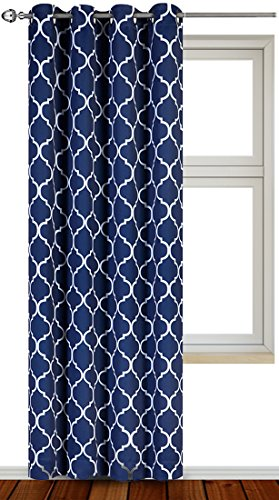 Block Printed (Printed Blackout Room Darkening Color Block Grommet Curtain Panel 52 inch wide by 84 inch long - Decorative Curtains by Utopia Bedding (Printed Navy))