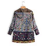 XOWRTE Women's Floral Print Vintage Oversize Winter Warm Hooded Jacket Cardigan Overcoat Outwear Coat with Pockets