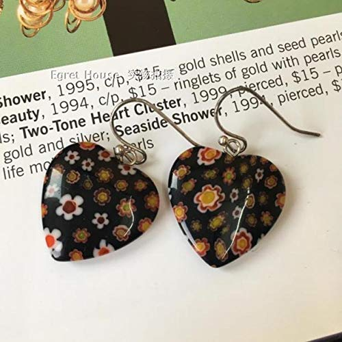MUPWG Retro Earrings Earring Ear Dangler Black Glass Flower Heart Shaped Choi (Heart-Shaped millefiori Glass 2.2cm