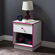 South Shore Furniture Logik 1-Drawer Nightstand, Pure White and Pink